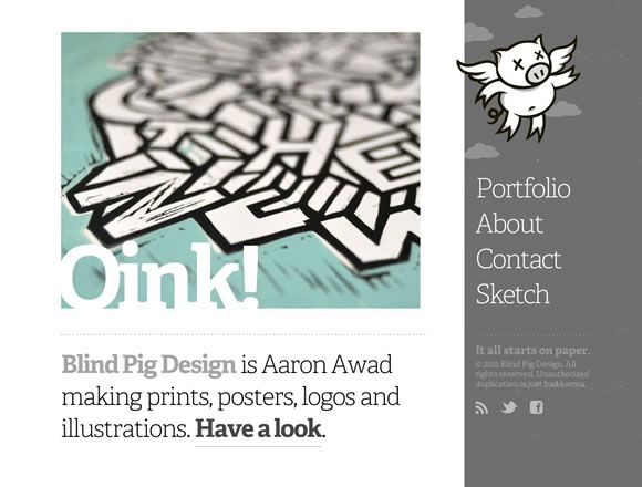 21 Breathtaking Examples of Minimal Color Usage in Web Design: Design Websites, Design Inspiration, Webdesign Design Inspiration, Web Design, Designinspiration View, Website Design, Http Www Blindpigdesign Com, Pig Design