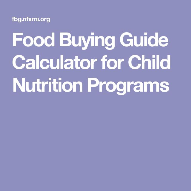 Food Buying Guide Calculator for Child Nutrition Programs