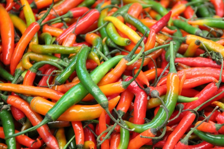 Colorful, spicy chilli peppers in Mexico