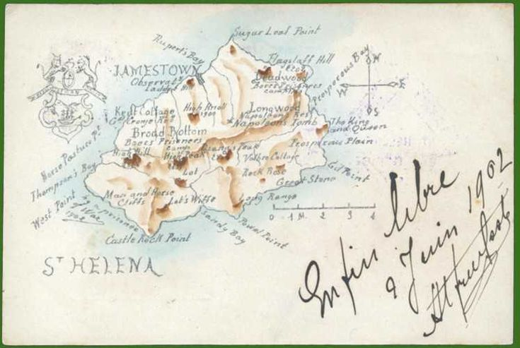 1902 postcard/map showing the camp sites Saint Helena Island Info Boer Prisoners