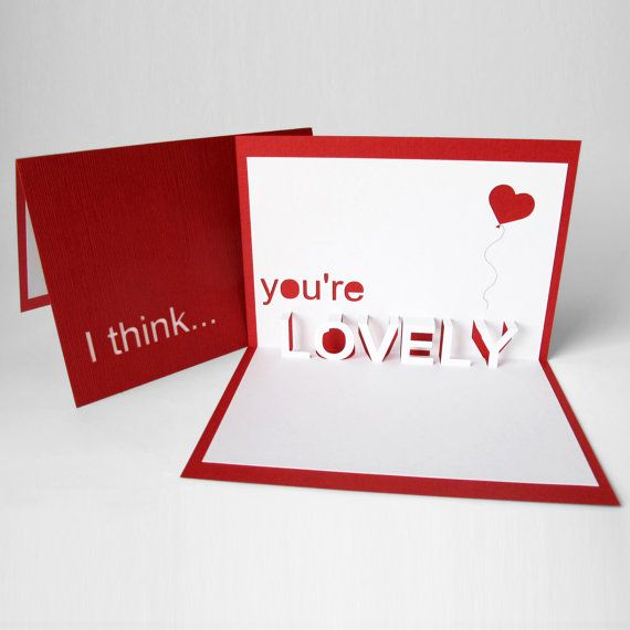 I think you're lovely 3D pop up card by littlewhitedog on Etsy, €8.00