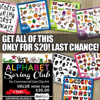 Alphabet Clip Art in growing bundle. This bundle features various alphabet theme clipart collection that you can get before Spring 2017 ends. Purchase this earlier at a lower price, and enjoy the full collection! Right now, I'm offering this membership club