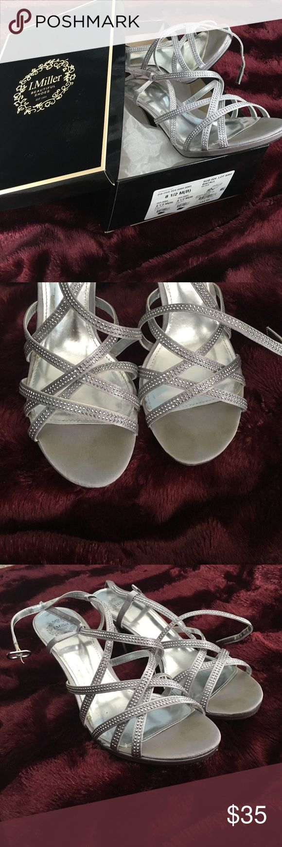 Silver Strappy Heels Worn once to my prom! They are scuffed some on the bottom but from the top look almost brand new! jcpenney Shoes Heels