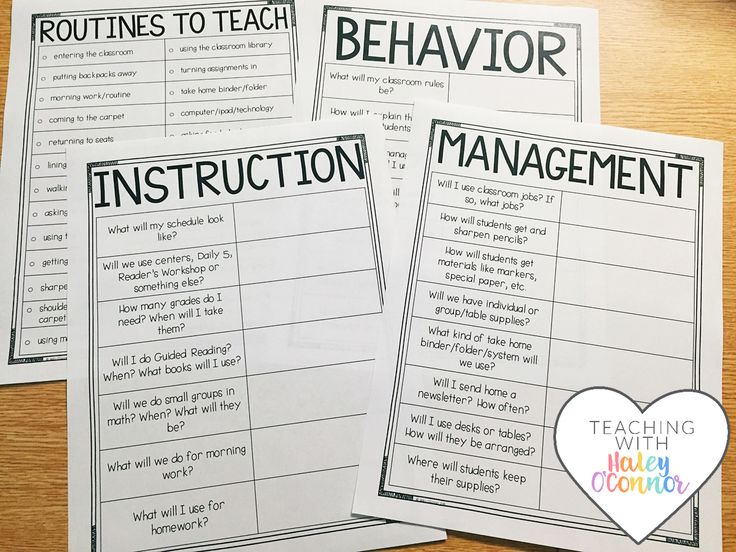 Planning Sheets for New Teachers by Haley OConnor