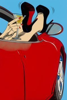 Sometimes Unpredictable by Deborah Azzopardi (2014) pop art illustration...or, cocktails in a red convertible.