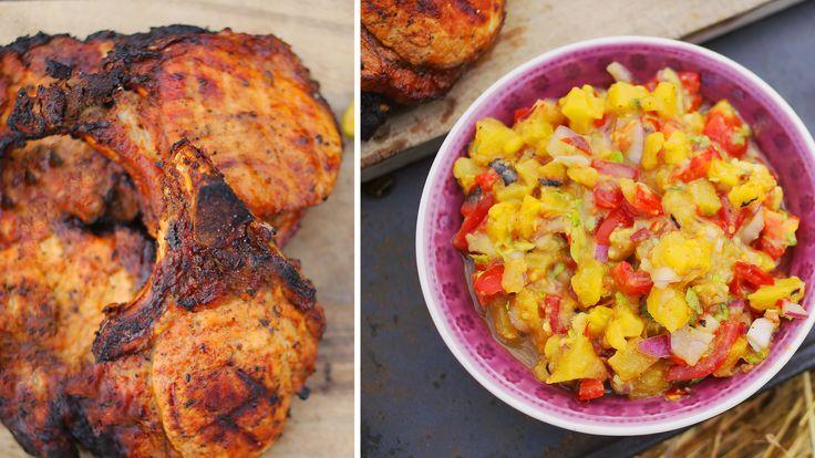 Grill bőségtál karajjal és ananász salsával