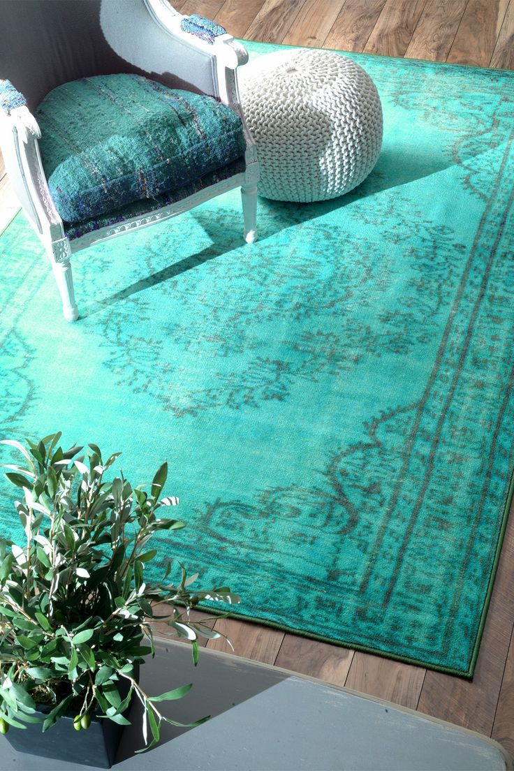 Overdyed Style Rug Turquoise By Nuloom On Hautelooklove