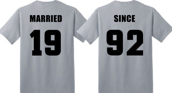 Check out 25th SILVER Anniversary gift in Silver Couples T-Shirts,  'MARRIED SINCE' set of 2 Matching Tees on groomsocks