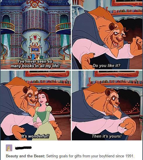 beauty and the beast, funny, and books image