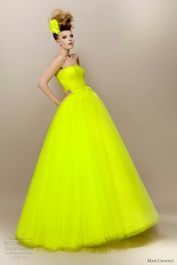 """""""Anna"""" -- 1950's Styled Neon Yellow-Green Strapless Tulle Bridal Ball Gown Featuring Lace Applique On Bodice, Straight Across Neckline; by Max Chaoul Bridal 2013·····"""