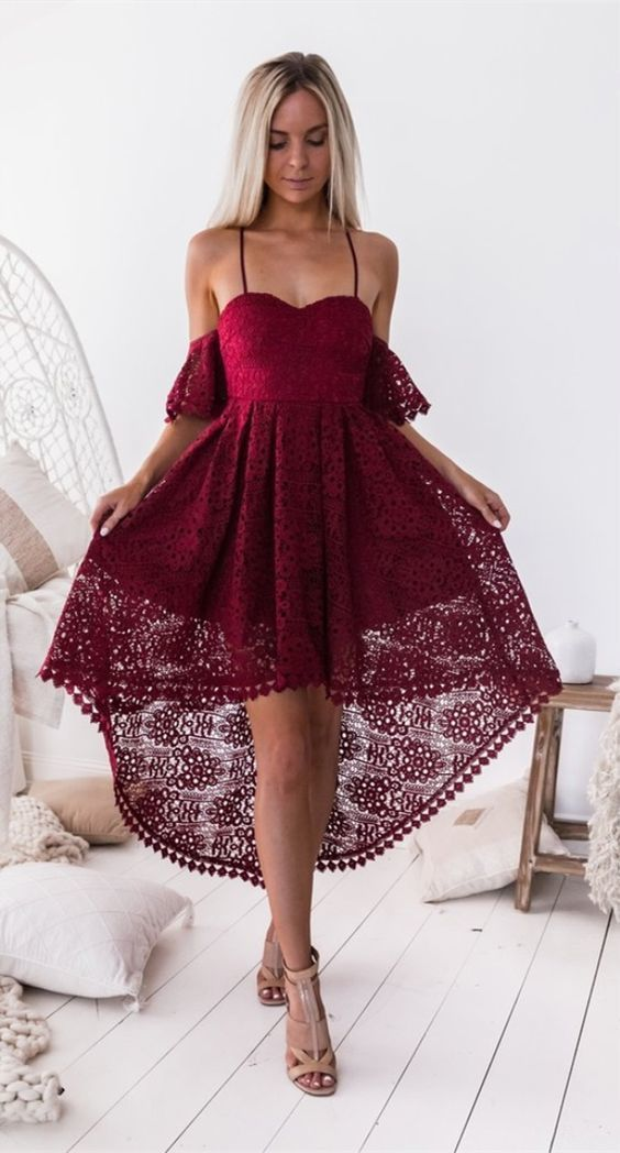 Chic burgundy lace high low prom party dresses, spaghetti straps homecoming dress short,cheap graduation dress for junior