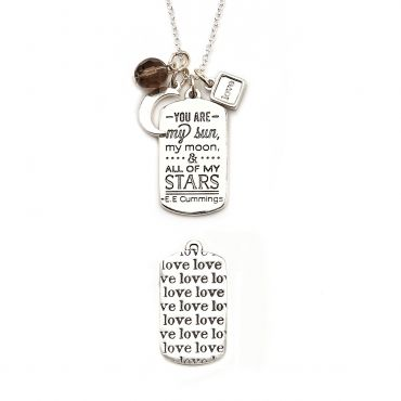 "Mantra Love necklace - available in mixed metals and silver. Get 25% off this necklace with code ""foxypin""  http://www.foxyoriginals.com/You-Are-My-Sun-Mantra-Necklace-in-Silver.html  Tags: silver necklace, inspirational quotes, love jewelry"