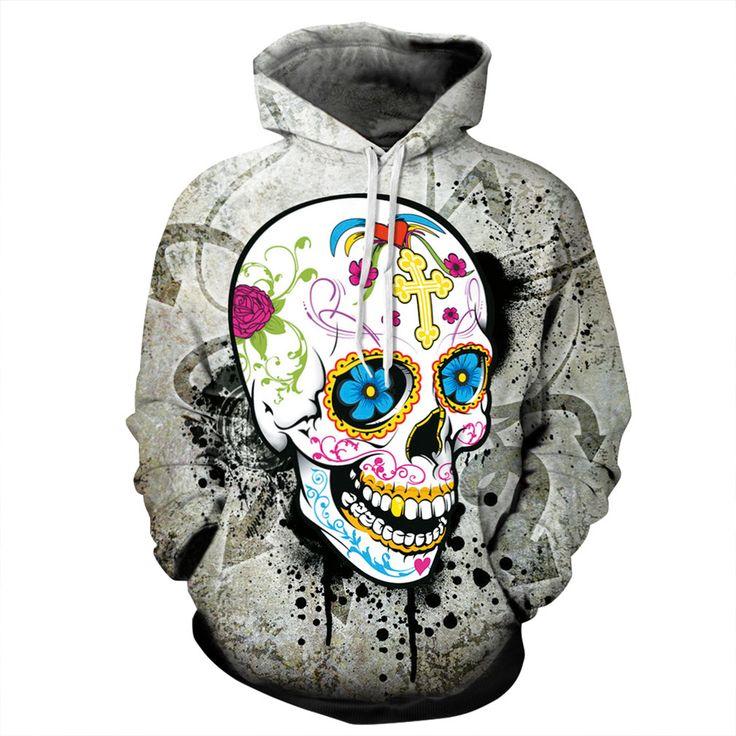 Punk Digital Print 3D Skull Head Pattern Hoodie Skateboard Sweartshirt Pullover Sudadera Hip Hop Hoodie Sale