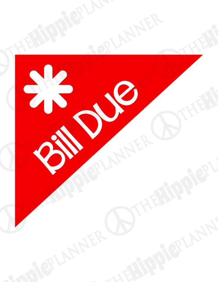 Corner Bill Due Stickers | Set of 100 or 240 | Erin Condren Life Planners, Plum Paper, Filofax, Scrapbooking, Calendars