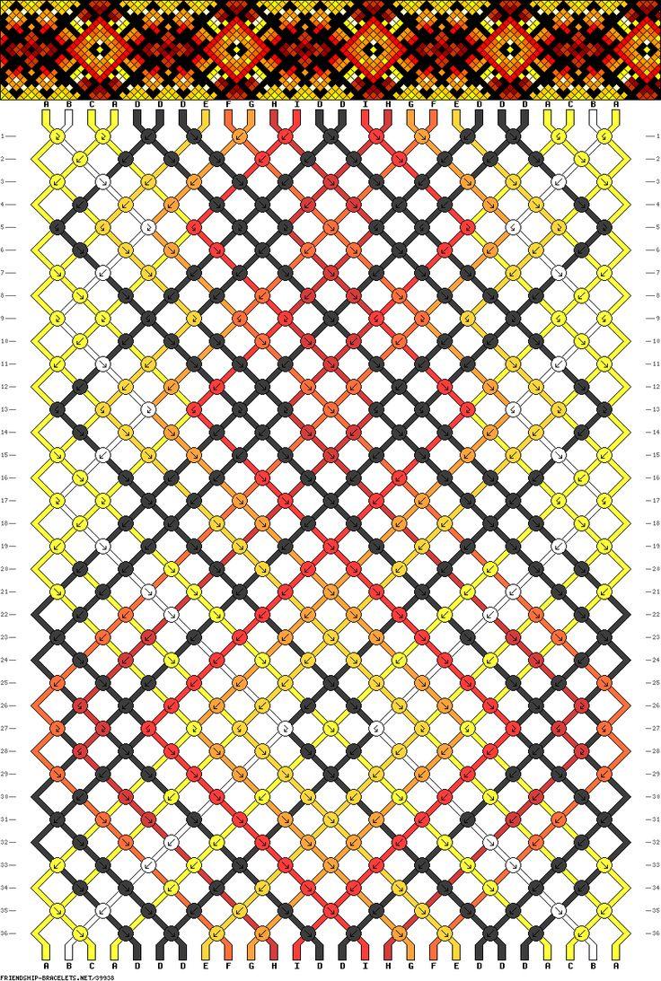 friendship bracelet pattern ● 26 strings ● 9 colors ● A(4), B-C(2), D(8), E-I(2)