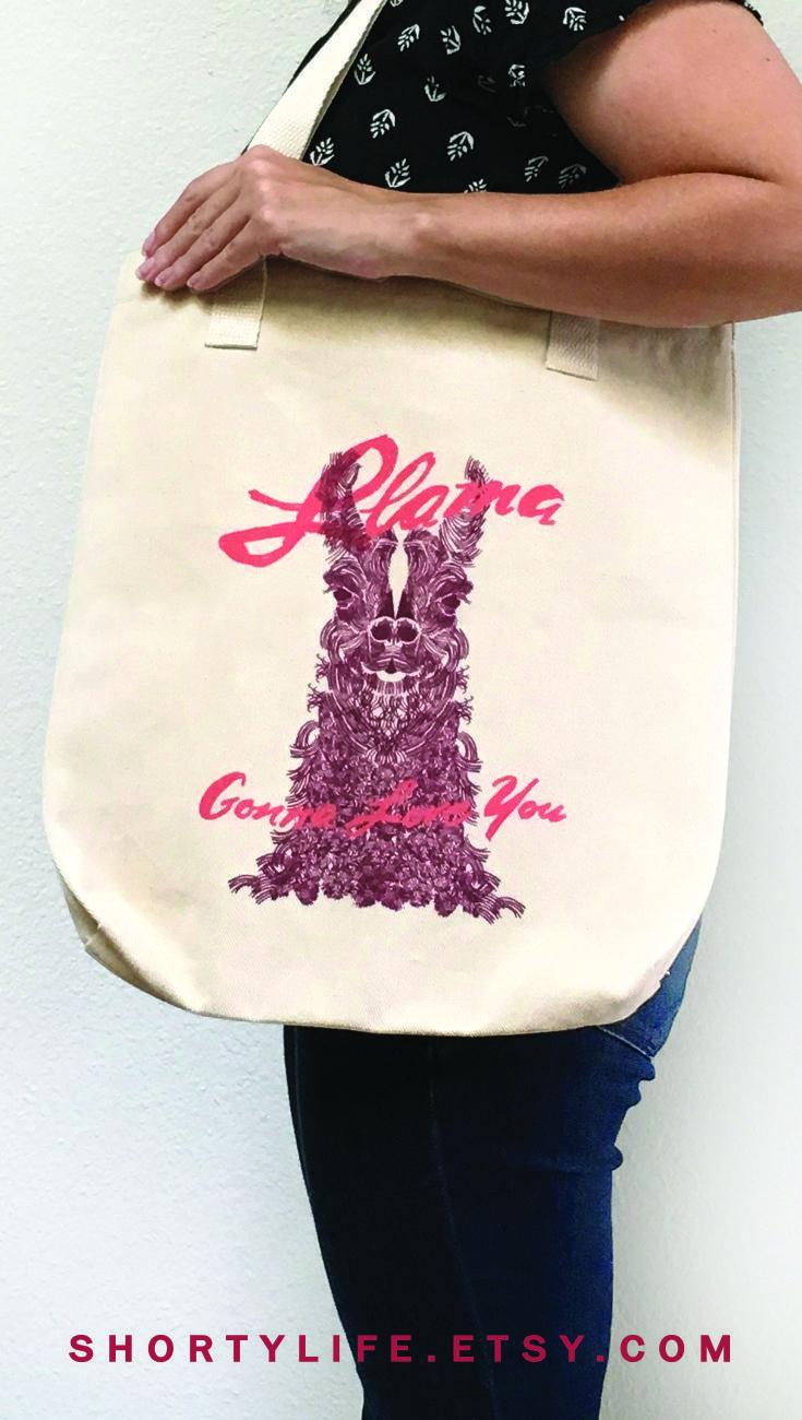 No prob llama tote bag with gusset canvas tote bag summer tote llama bag llama accessories alpaca art alpaca girlfriend mother/'s day gift