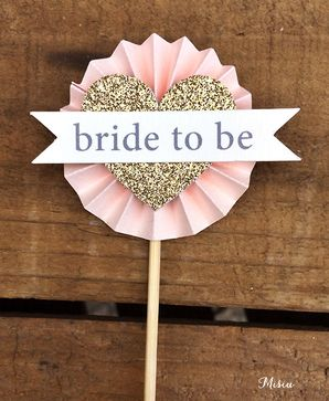 12 'Bride to Be' Rosette Cupcake Toppers by Misiu