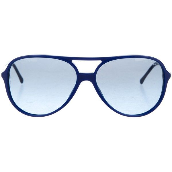 Pre-owned Chanel CC Aviator Sunglasses (455 BRL) ❤ liked on Polyvore featuring accessories, eyewear, sunglasses, blue, blue lens glasses, chanel glasses, chanel sunglasses, blue aviator sunglasses and blue glasses
