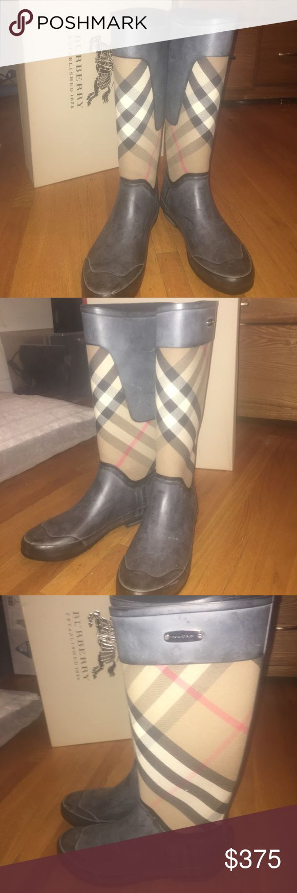 Burberry rain boots fits size 7 Burberry rain boots worn a couple times size 38 comes with box Burberry Shoes Winter & Rain Boots