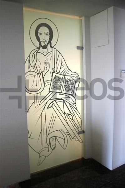 Vinilo Jesus Pantocrator Sala Catecumenal