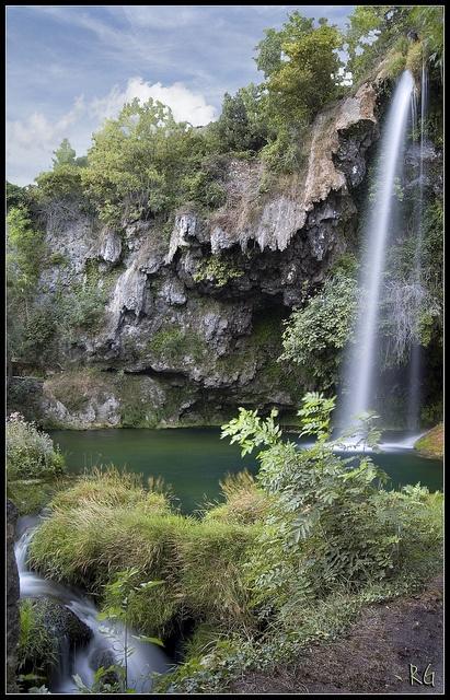 Cascade de Salles-la-Source, Aveyron France by Richard Giulielli