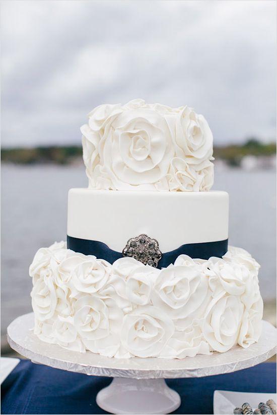 navy and white wedding cake