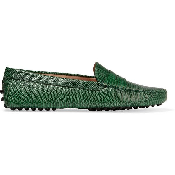 Spectacular Tod us Gommino lizard effect leather loafers liked on Polyvore featuring shoes