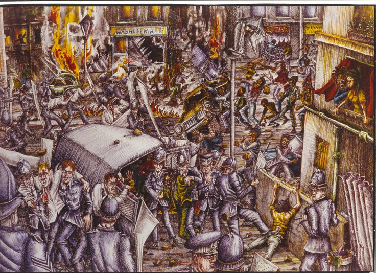 Brixton Uprising  Pen & Ink & Felt Tip drawing by Mike Hawthorne 1981