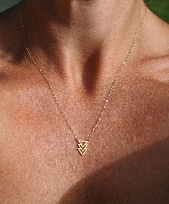 Gold necklace geometric triangle necklace by uniquelyyoubydesign