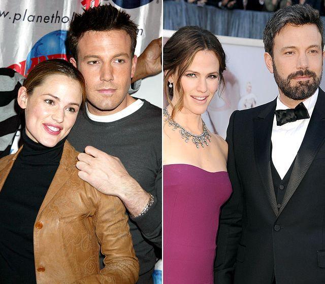 Jennifer Garner and Ben Affleck. Met on the set of Pearl Harbor, started dating after costarring in Daredevil. Married in 2005.