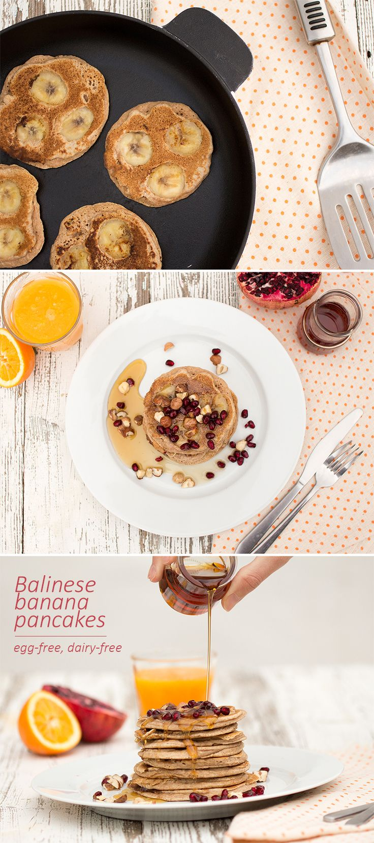Pillow-soft, slightly sweet pancakes with whole banana slices. Egg and dairy free. #vegan #recipes #breakfast
