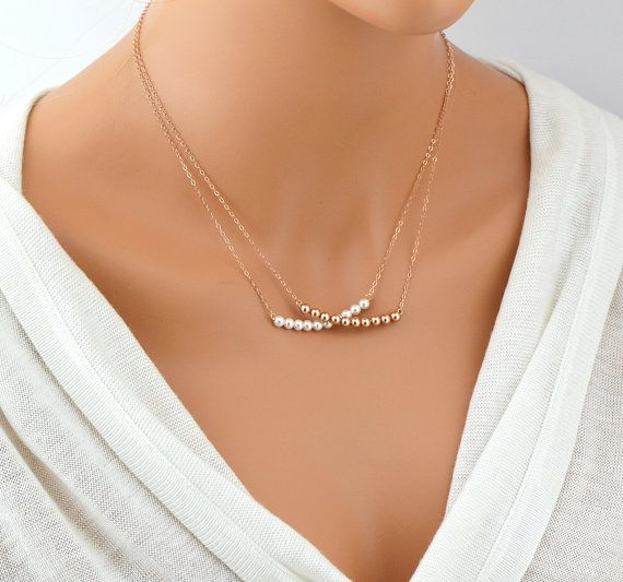 Pearl Bar Necklace Delicate Bead Swarovski Crystal Perfect