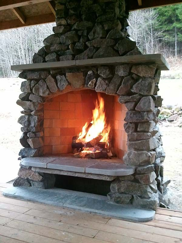 R U S T I C comfort <3 outdoor #stone #fireplace
