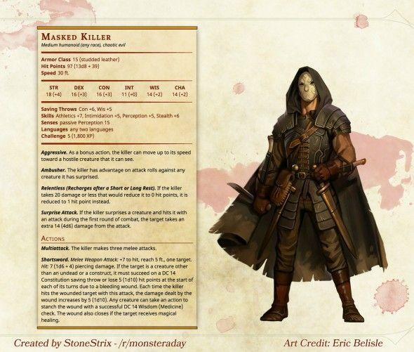 Masked Killer homebrew stats assassin rogue