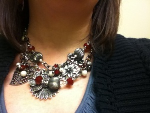 Red Hots & Botanical necklaces layered- from Premier Designs