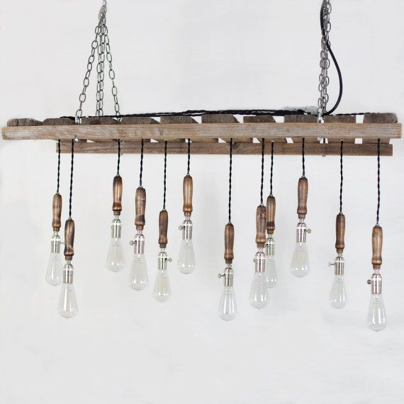Wood Pallet Chandelier  12 Bulb by TypewriterBoneyard on Etsy, $2800.00