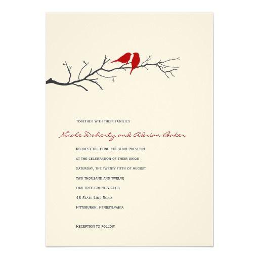 love birds silhouettes wedding invitation red - Love Birds Wedding Invitations