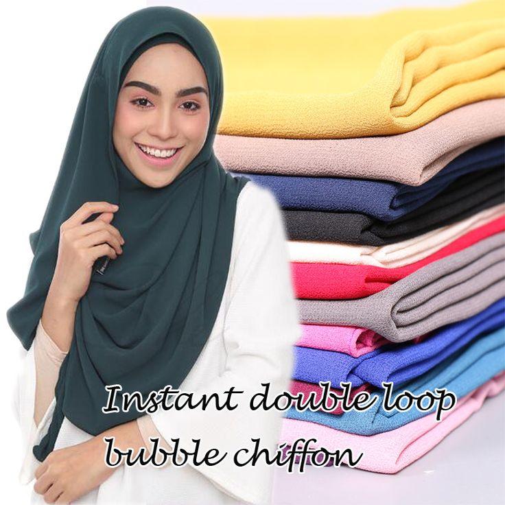 Malasia venta caliente diseño instantánea doble bucle burbuja gasa bufanda/mantones dos cara hijab musulmán bufandas 23 colores/bufanda