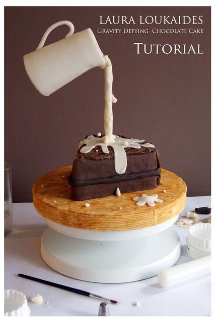 Gravity Defying Chocolate Cake - by Laura Loukaides @ CakesDecor.com - cake decorating website