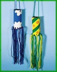 Toilet paper roll wind sock craft. Imagine this painted with the colors from wedding and ribbons with crystals.