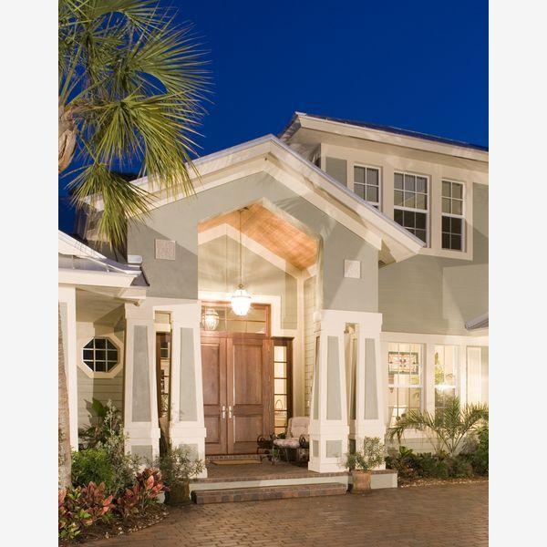 Florida house, build out entranceUpgrades Exterior, Add Curb, Doors Entrance, Exterior Lights, Lights Grey House Exterior, Florida House, Double Doors, Dreams House, Diy Curb Appeal
