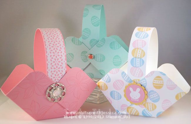 """Treat baskets tutorial. Easily made using a 6"""" square of cardstock."""