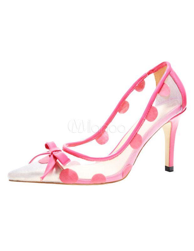 Attraktive High Heels mit Polka-Tupfen in Rosa