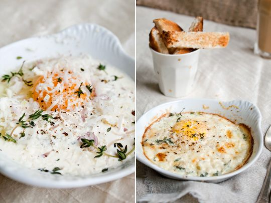Recipe: Shirred Eggs with Toast Soldiers  ~~~ Shirred eggs, or oeufs en cocotte as they are known in France, accompanied by toast soldiers (thinly-sliced sections of toast) are one of the most glamorous, velvety breakfast dishes around. Once you go shirred, you'll never fry an egg again! Why make such a bold claim? Read on to find out.