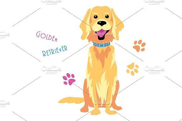 Vector Sketch Funny Golden Retriever Dog Sitting Dogs Golden