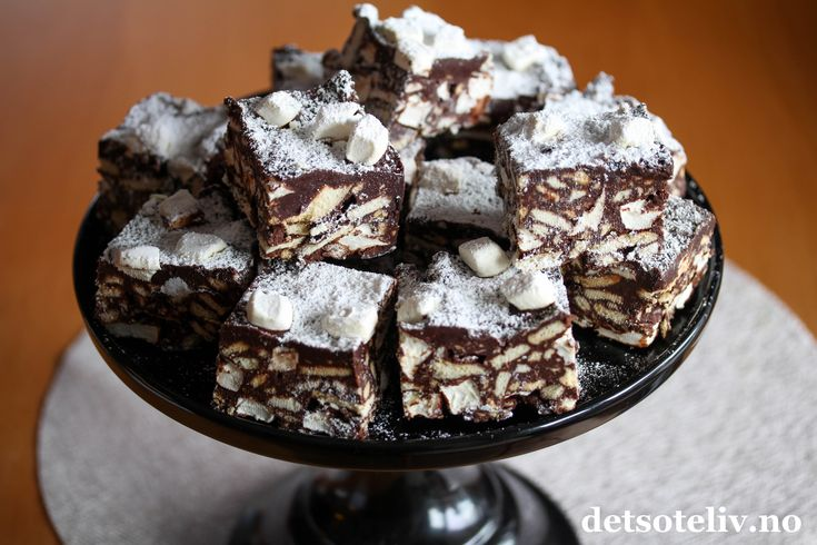 Rocky Road med kjeks og marshmallows