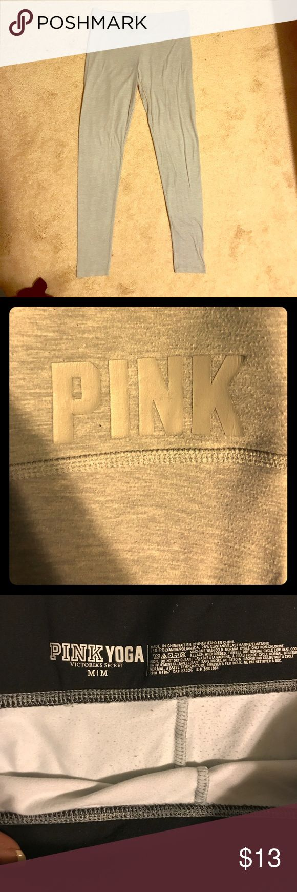PINK Silver Leggings (Medium) BRAND NEW CONDITION Cute Silver PINK YOGA pants. They fit extremely comfortably. Selling this at a low price because I got this as a gift. I haven't worn these too much, and they are in Brand new Condition. If you like, send an offer right away. Things in my closet tend to sell fast ❤️ Cheers, happy poshing :) PINK Victoria's Secret Pants Leggings