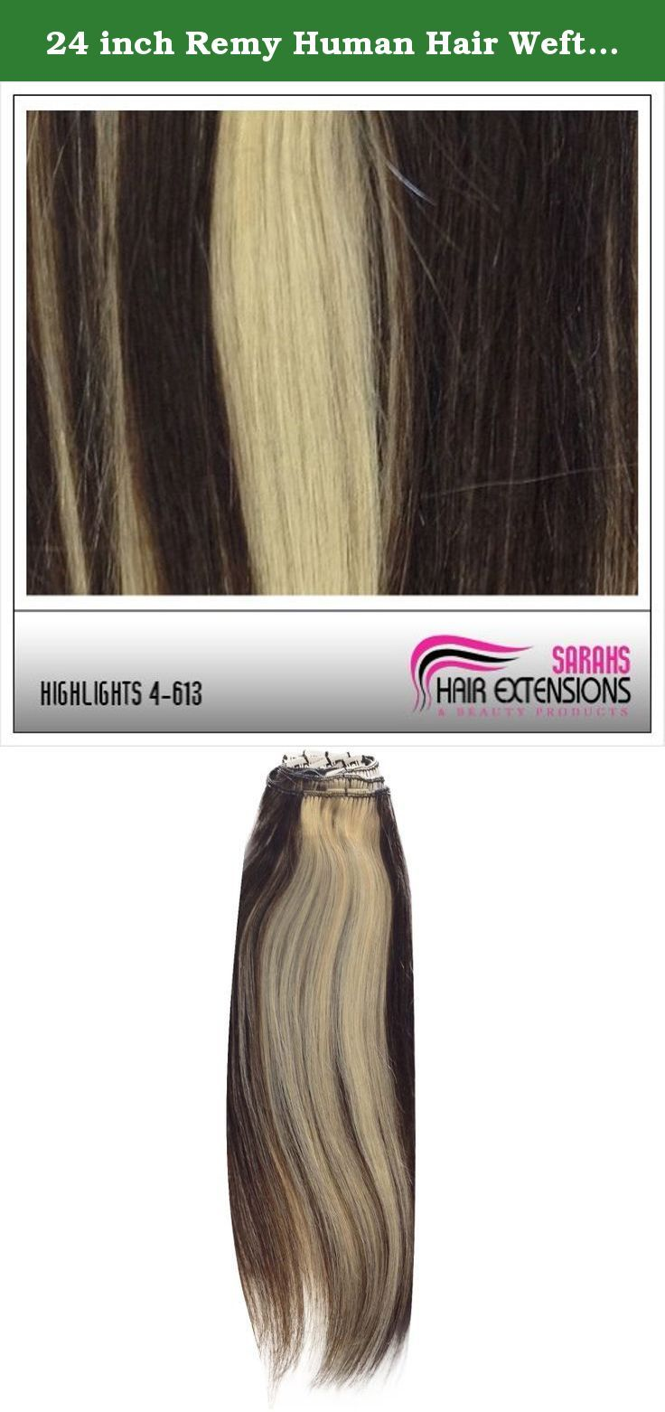 24 inch Remy Human Hair Weft. Brown/Blonde 4/613. Whether you are looking for a complete makeover or you just want to add more length and body to your hair, Sarahs Hair Extensions are available to you in many different styles and lengths. Our Remy clip in human hair extensions are of the finest quality, made from only the best human hair, and are just perfect to give your hair that great new look you are after. You will feel very satisfied and happy with our full head clip in hair…