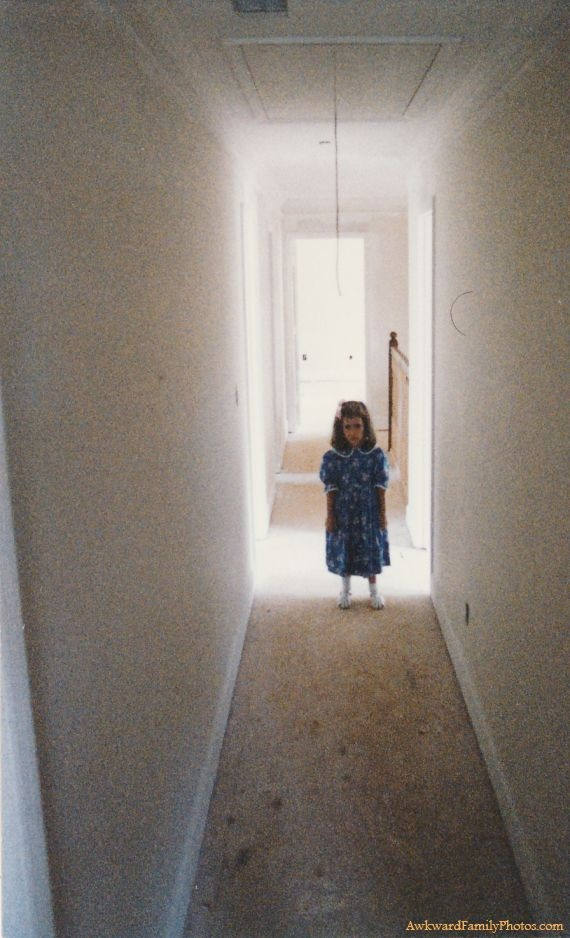 """We were touring our new house while it was under construction in 1989. I was 4. My parents were taking pictures of various rooms and I was wandering. Then this happened in a hallway."" ~AFP"
