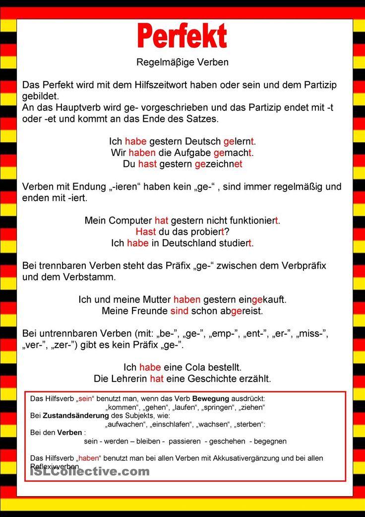 Willkommen auf Deutsch - Perfekt -Regelmäβige Verben
